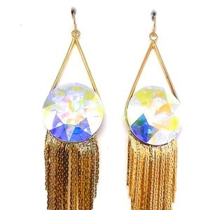 THUNDERBIRD MOONOPAL ROUND GOLD FRINGE EARRINGS NW